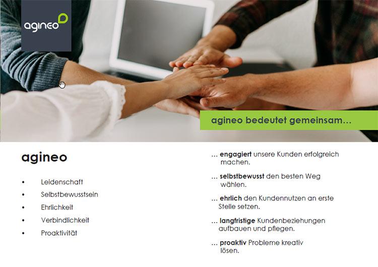Die Werte von agineo - als Wandbild in den Geschäftsstellen