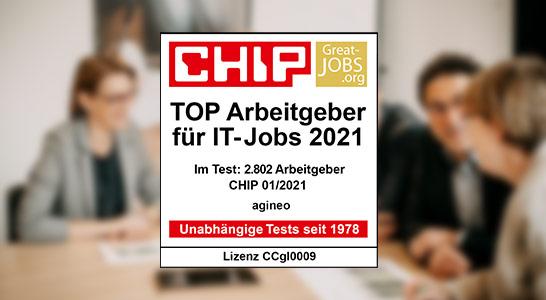 Siegel von CHIP - die Top Arbeitgeber für IT-Jobs 2021, mit dem agineo ausgezeichnet wurde.