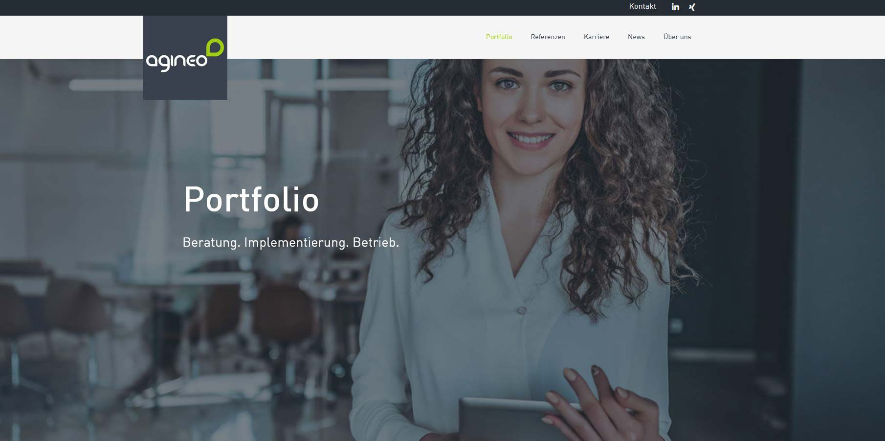 Screenshot der neuen Portfolio-Seite von agineo