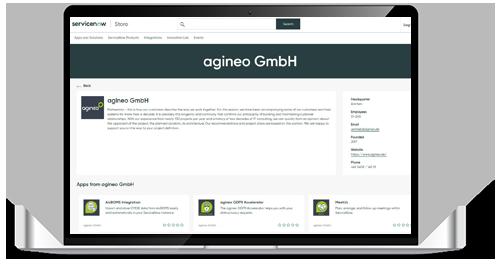 Silberner Laptop mit ServiceNow-Apps von agineo im Store ©fenskey | AdobeStock 298282840