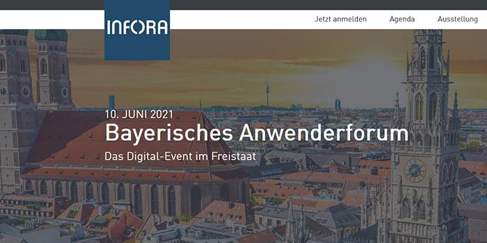 """Screenshot der Website """"Bayerisches Anwenderforum 2021"""" ©Infora"""