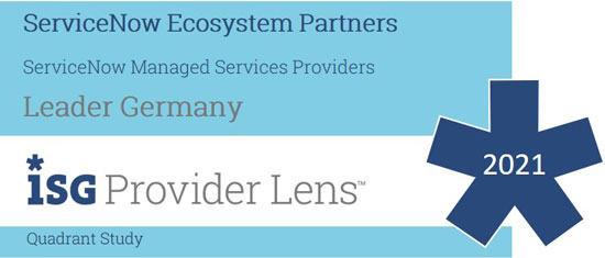 Logo des ISG Provider Lens - ServiceNow Managed Services Providers 2021